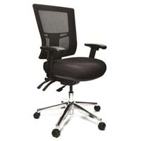 BURO METRO II 24/7 OFFICE CHAIR MESH HIGH BACK 3-LEVER POLISHED ALUMINIUM BASE WITH ARMS BLACK